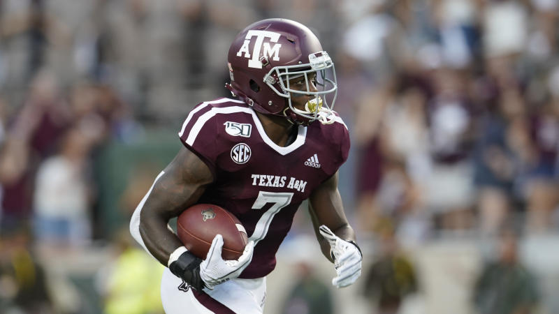 Texas A&M's Jashaun Corbin (7) runs against Texas State during the first half of an NCAA college football game in College Station, Texas, Thursday, Aug. 29, 2019. (AP Photo/Chuck Burton