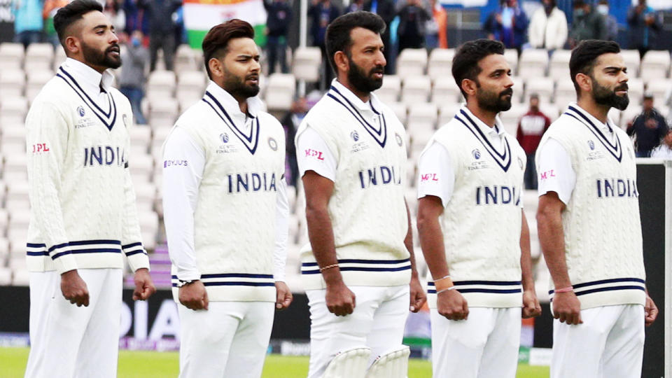 Indian players, pictured here wearing black armbands on the second day of the World Test Championship final.