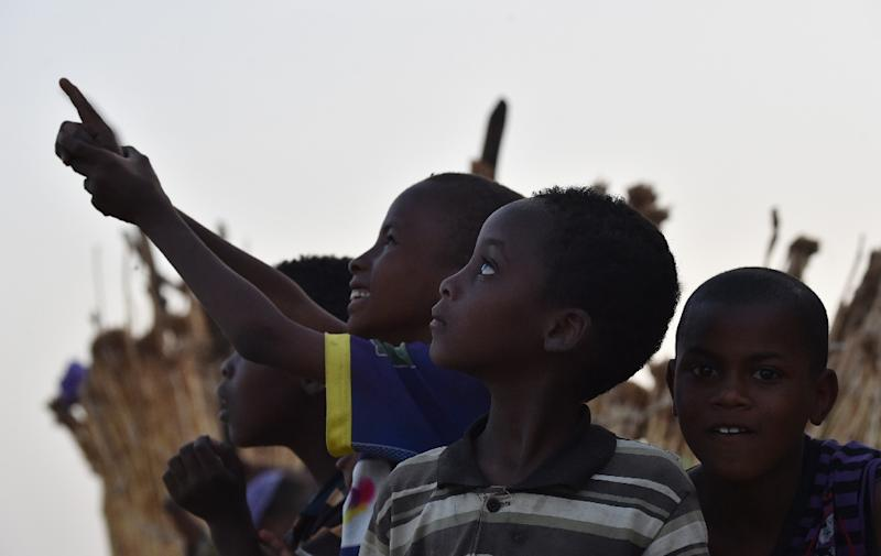 A picture taken on May 23, 2015 in Diffa, southeastern Niger, shows Nigerien children whose families fled Boko Haram attacks