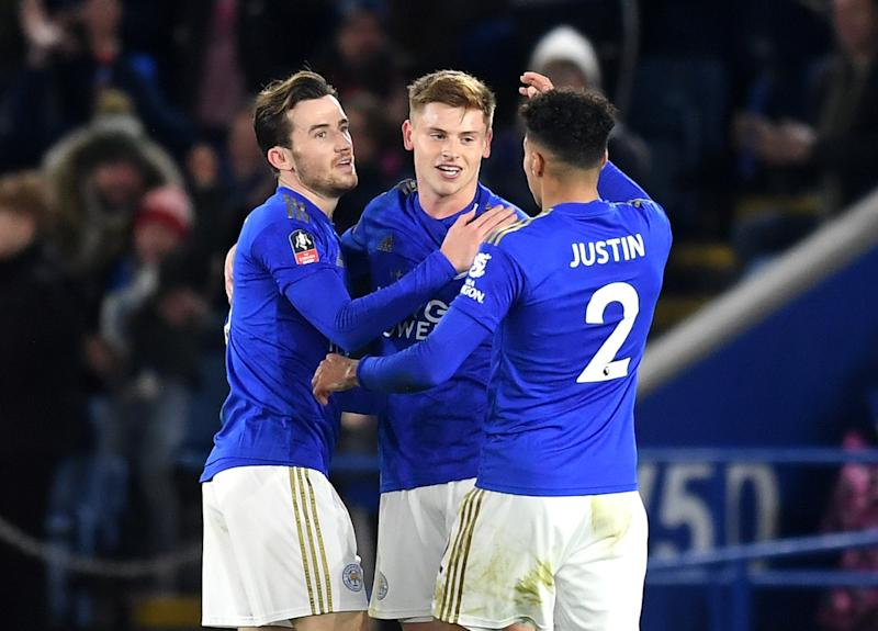 Harvey Barnes of Leicester City celebrates with teammates. (Credit: Getty Images)