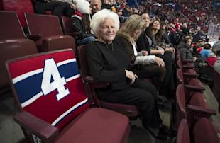 Elise Beliveau, wife of Habs legend Jean Beliveau, offered Subban support and wore his jersey to Game 2. (AP)