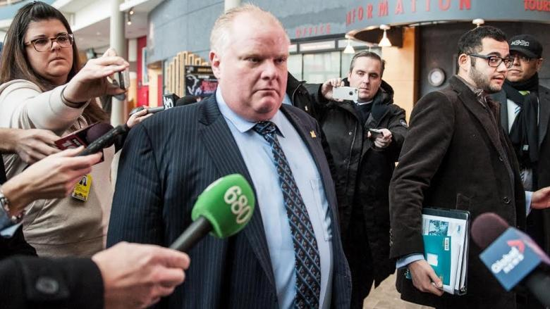 Toronto Mayor Rob Ford arrives at a meeting in Mississauga where he, along with a handful of other GTA mayors, will press the province for money to help cover ice storm cleanup costs.