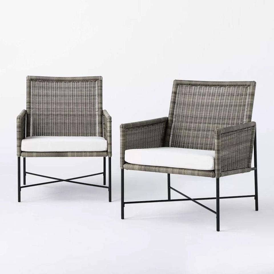 <p>The <span>Wicker Metal X Frame Patio Accent Chairs</span> ($300) will look great dressed up with a few throw pillows.</p>