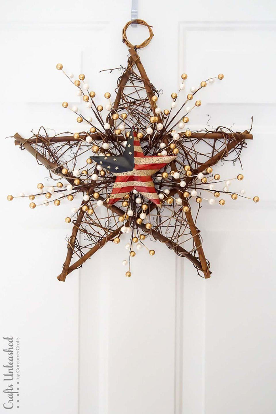 """<p>For a simple 4th of July decoration, update a grapevine star wreath with metallic pearls and a barn flag star.</p><p><strong>Get the tutorial at <a href=""""http://blog.consumercrafts.com/decor-home/patriotic-diy-grapevine-wreath/"""" rel=""""nofollow noopener"""" target=""""_blank"""" data-ylk=""""slk:Crafts Unleashed"""" class=""""link rapid-noclick-resp"""">Crafts Unleashed</a>. </strong></p><p><strong><a class=""""link rapid-noclick-resp"""" href=""""https://www.amazon.com/Ougual-Natural-Wicker-Rattan-Decoration/dp/B07KSZHKLN/ref=sr_1_6?tag=syn-yahoo-20&ascsubtag=%5Bartid%7C10050.g.4464%5Bsrc%7Cyahoo-us"""" rel=""""nofollow noopener"""" target=""""_blank"""" data-ylk=""""slk:SHOP GRAPEVINE STAR WREATHS"""">SHOP GRAPEVINE STAR WREATHS</a></strong></p>"""