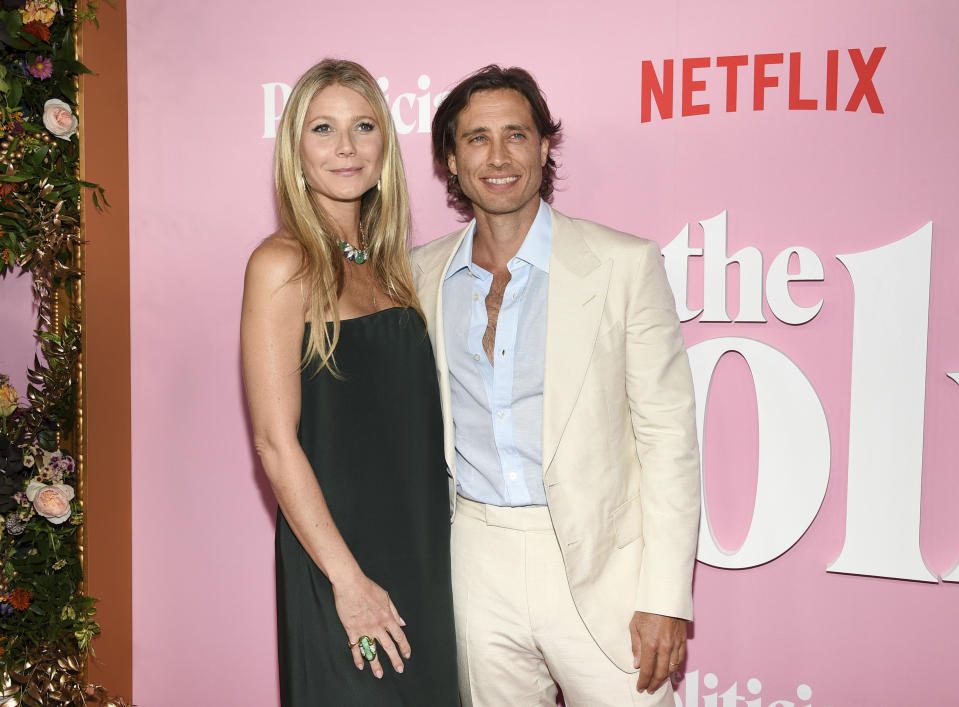 """Actress Gwyneth Paltrow, left, and husband Brad Falchuk attends the premiere of Netflix's """"The Politician"""" at the DGA New York Theater on Thursday, Sept. 26, 2019, in New York. (Photo by Evan Agostini/Invision/AP)"""