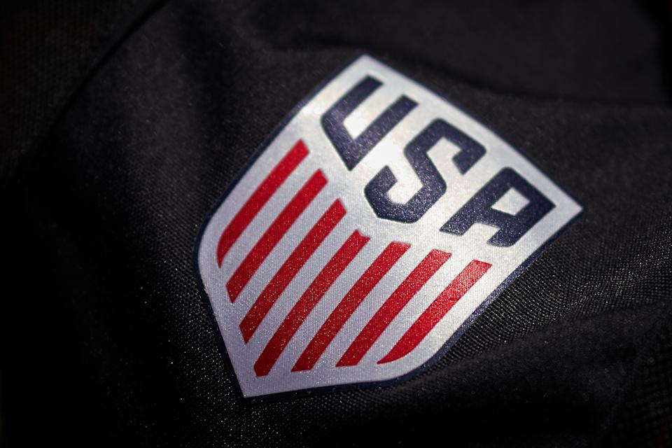 SANTA CLARA, CA - MAY 12: A detailed view of the United States logo crest is seen in game action during an International friendly match between the United States and South Africa on May 12, 2019 at Levi's Stadium in Santa Clara, CA. (Photo by Robin Alam/Icon Sportswire via Getty Images)