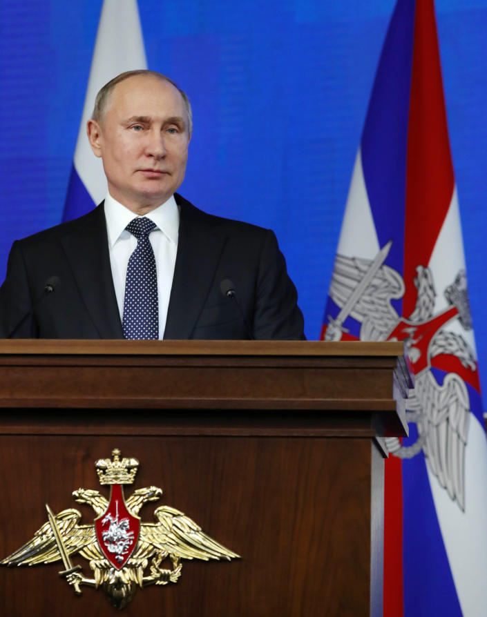 Russian President Vladimir Putin delivers his speech during an annual meeting with top military officials in the National Defense Control Center in Moscow, Russia, Tuesday, Dec. 24, 2019. (Mikhail Klimentyev, Sputnik, Kremlin Pool Photo via AP)