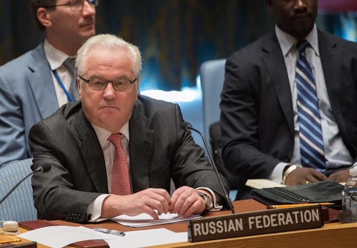 Russian Ambassador to the UN, Vitaly Churkin, attends the UN Security Council emergency meeting on the situation in Syria, in New York, on September 25, 2016 (AFP Photo/Bryan R. Smith)