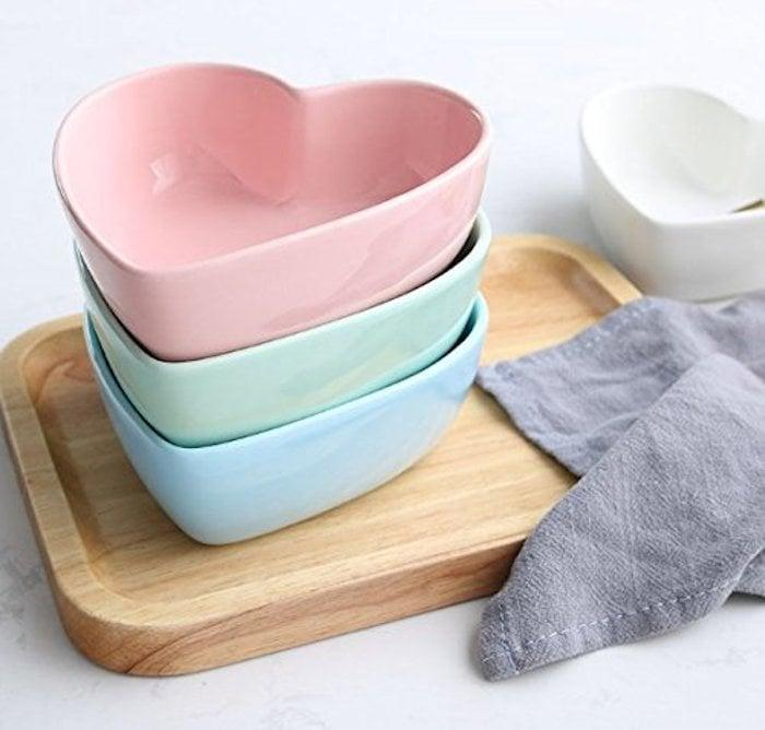 <p>These <span>Stock Show Heart-Shape Ceramic Bowls</span> ($12) come in a few different colors. </p>