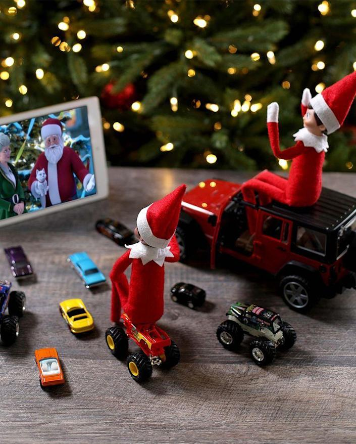"""<p>Your Elves deserve to kick back and relax after such a tough year. An iPad serves as the screen for this miniature drive-in movie set.</p><p><strong>Get the tutorial at <a href=""""https://elfontheshelf.com/elf-ideas/drive-in-movie/"""" rel=""""nofollow noopener"""" target=""""_blank"""" data-ylk=""""slk:Elf on the Shelf"""" class=""""link rapid-noclick-resp"""">Elf on the Shelf</a>.</strong></p><p><a class=""""link rapid-noclick-resp"""" href=""""https://www.amazon.com/Elf-Shelf-Boy-Light/dp/B07TJJTBW8/?tag=syn-yahoo-20&ascsubtag=%5Bartid%7C2164.g.34080491%5Bsrc%7Cyahoo-us"""" rel=""""nofollow noopener"""" target=""""_blank"""" data-ylk=""""slk:SHOP ELF ON THE SHELF"""">SHOP ELF ON THE SHELF</a></p>"""