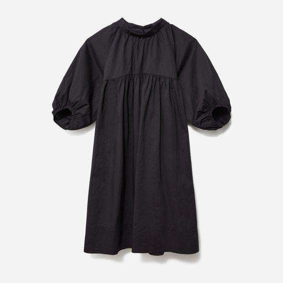 """The ideal LBD to wear all through the rest of summer <em>and</em> layer up once fall arrives. $78, Everlane. <a href=""""https://www.everlane.com/products/womens-shirred-mini-dress-black?collection=womens-sale"""" rel=""""nofollow noopener"""" target=""""_blank"""" data-ylk=""""slk:Get it now!"""" class=""""link rapid-noclick-resp"""">Get it now!</a>"""