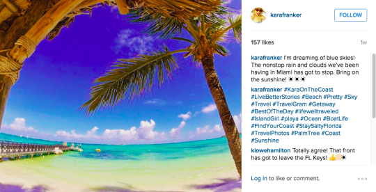 "<p>Heading back to South Florida, the Instagram feed of Kara Franker always captivates me. Kara has an interesting background as a recovering lawyer and ex-NFL cheerleader, and her pictures are fun, lively, and oh so colorful. <i>(Photo: <a href=""https://www.instagram.com/karafranker/"" rel=""nofollow noopener"" target=""_blank"" data-ylk=""slk:@karafranker"" class=""link rapid-noclick-resp"">@karafranker</a>)</i><b><br></b></p>"