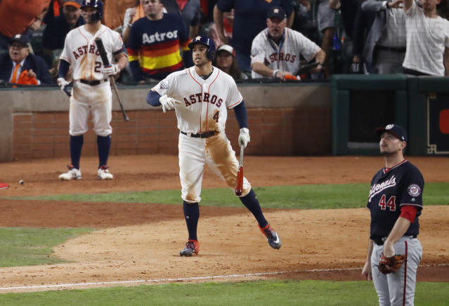 George Springer isn't running in this picture. Some people had problems with that. (Tim Warner/Getty Images)