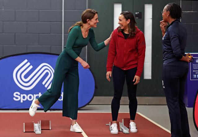 The Duchess of Cambridge (left) jokes with heptathlete Jessica Ennis-Hill (centre). (Press Association)