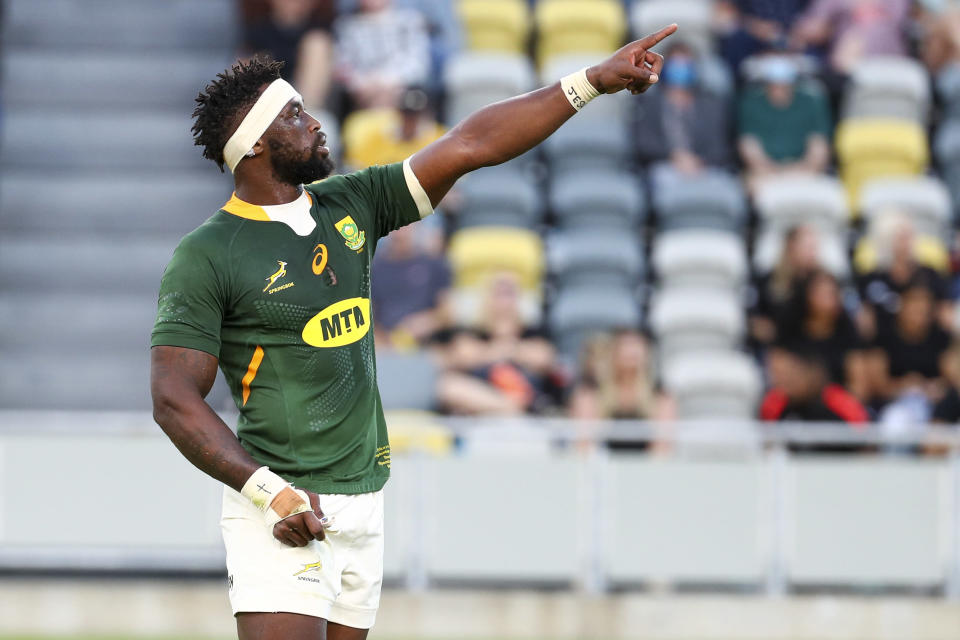 South Africa's Siya Kolisi gestures during the Rugby Championship test match between the Springboks and the All Blacks in Townsville, Australia, Saturday, Sept. 25, 2021. (AP Photo/Tertius Pickard)