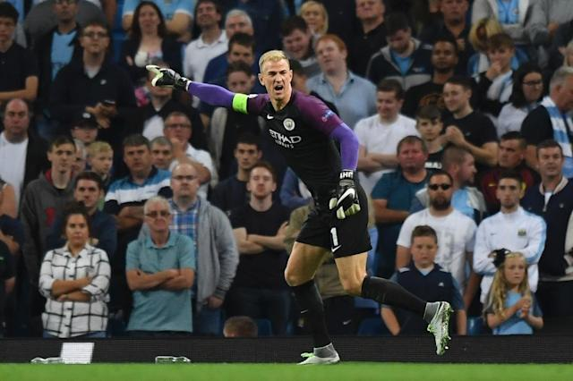 Manchester City's English goalkeeper Joe Hart gestures during the UEFA Champions league second leg play-off football match between Manchester City and Steaua Bucharest at the Etihad Stadium in Manchester, north west England on August 24, 2016 (AFP Photo/Anthony Devlin)