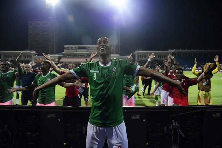 Madagascar celebrate their penalty shootout victory over DR Congo in the last 16 (AFP Photo/JAVIER SORIANO)