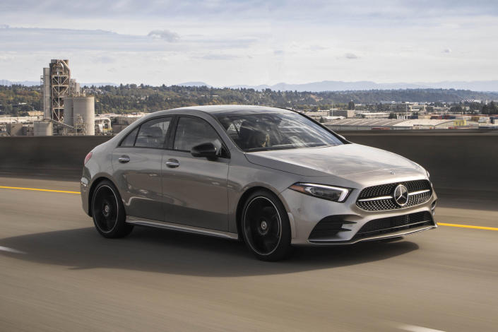 This undated photo provided by Mercedes-Benz shows the 2020 Mercedes-Benz A-Class. The A-Class provides a smooth and controlled ride and quick acceleration when you put your foot down. (Mercedes-Benz USA via AP)