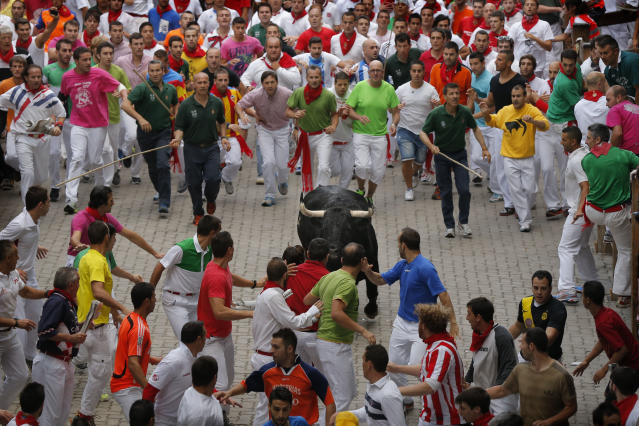An 'El Pilar' fighting bull slows down his race during the running of the bulls of the San Fermin festival, in Pamplona, Spain, Friday, July 12, 2013. Revelers from around the world arrive to Pamplona every year to take part on some of the eight days of the running of the bulls. (AP Photo/Daniel Ochoa de Olza)