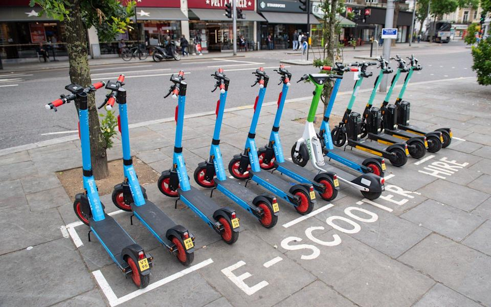 E-Scooter hire point in Kensington, west London