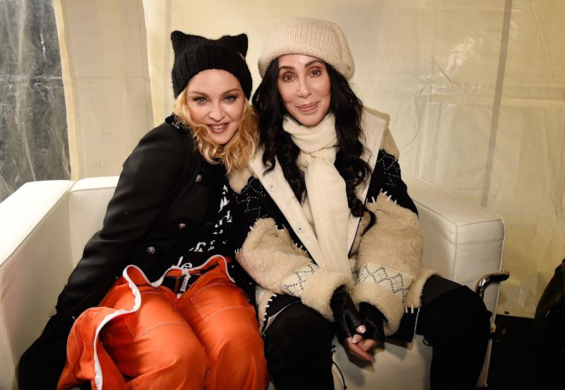 Madonna and Cher sit together during the Women's March on Washington on Jan. 21, 2017. (Photo: Kevin Mazur via Getty Images)