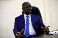 FILE PHOTO: Edo state governor, Godwin Obaseki gestures during an interview with Reuters at his residence in Benin City