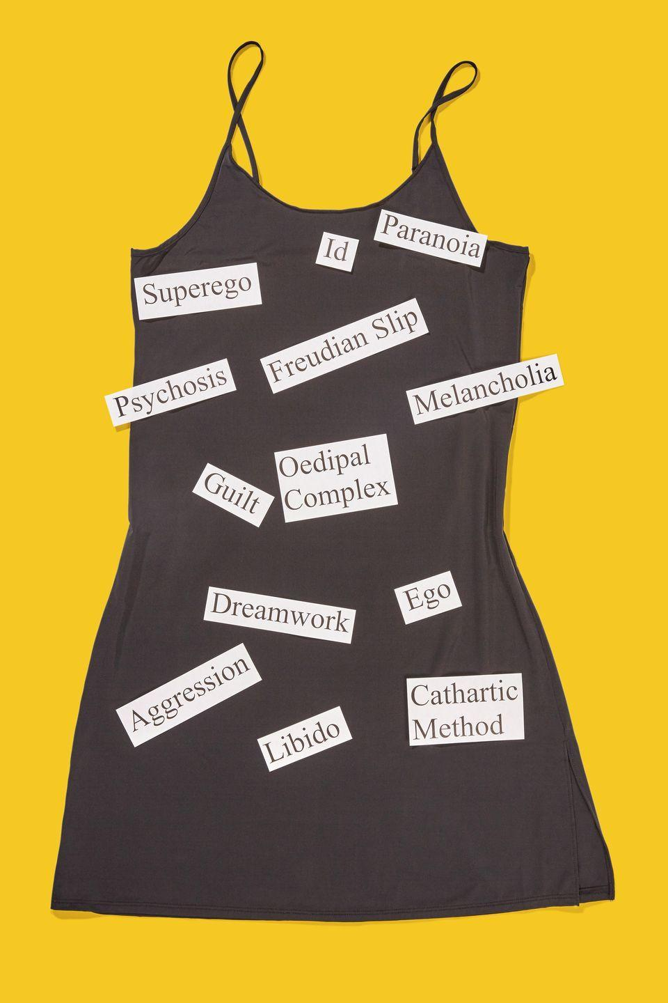 """<p>Psych everyone out by wearing a slip dress and attaching well-know terms coined by Sigmund Freud. </p><p><a class=""""link rapid-noclick-resp"""" href=""""https://www.amazon.com/AUHEGN-Womens-Adjustable-Spaghetti-X-Large/dp/B07RSJ6KP5/?tag=syn-yahoo-20&ascsubtag=%5Bartid%7C10070.g.490%5Bsrc%7Cyahoo-us"""" rel=""""nofollow noopener"""" target=""""_blank"""" data-ylk=""""slk:SHOP SLIP DRESSES"""">SHOP SLIP DRESSES</a> </p>"""