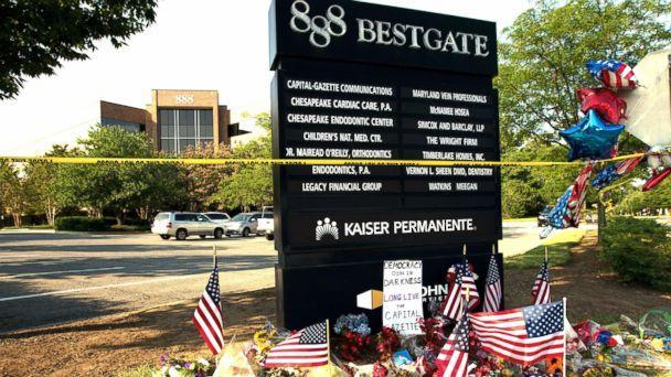 PHOTO: A makeshift memorial is seen at the scene outside the office building housing The Capital Gazette newspaper in Annapolis, Md., July 1, 2018. (Jose Luis Magana/AP, FILE)