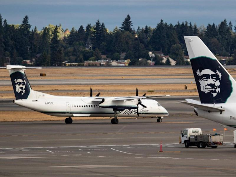 A Horizon Air Bombardier Q400, like the type which was taken, taxis towards the runway at Seattle-Tacoma International Airport (EPA)