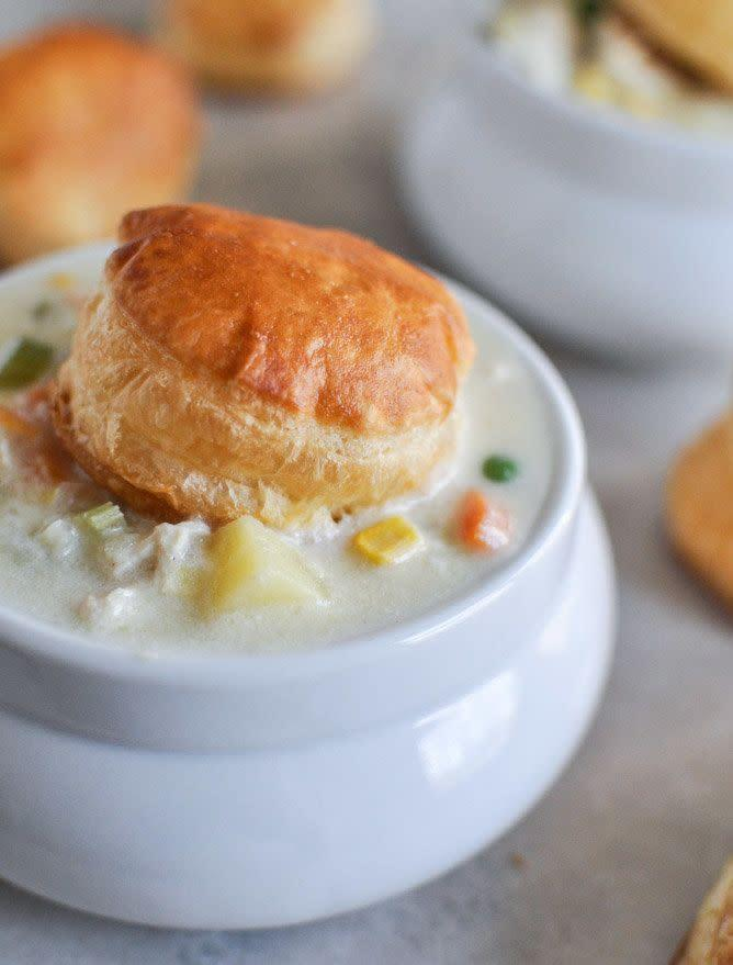 "<strong>Get the <a href=""http://www.howsweeteats.com/2012/12/chicken-pot-pie-soup/"" rel=""nofollow noopener"" target=""_blank"" data-ylk=""slk:Chicken Pot Pie Soup recipe from How Sweet It Is"" class=""link rapid-noclick-resp"">Chicken Pot Pie Soup recipe from How Sweet It Is</a></strong>"