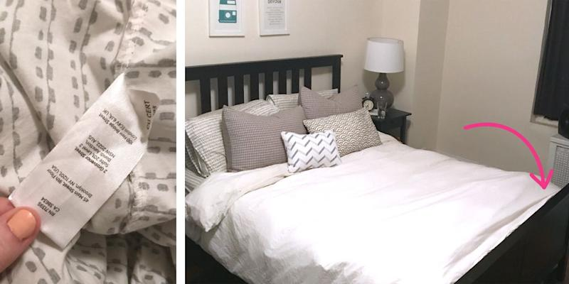 this fitted sheet hack will make changing your sheets so much easier. Black Bedroom Furniture Sets. Home Design Ideas