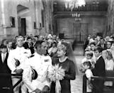 <p>It was both of their second weddings, and their children took up the bulk of the church's seating, but the blue brocade wedding dress and matching hat that Helen North Beardsley (Lucille Ball) wore in <em>Yours, Mine and Ours </em>is almost as sweet as the romantic comedy itself.</p>