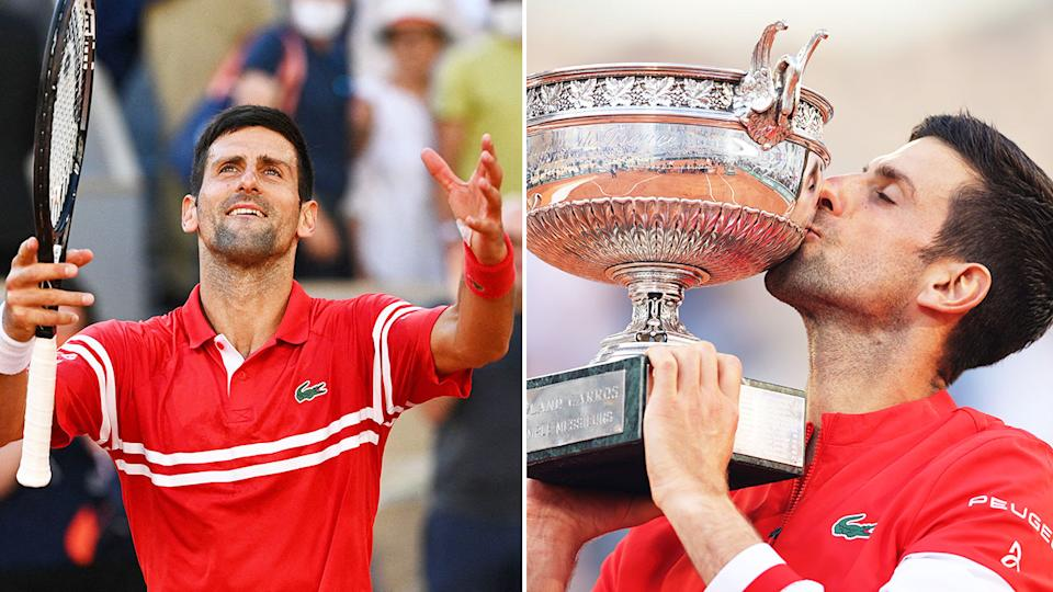 Seen here, Novak Djokovic celebrates after winning his 19th major title at the French Open.