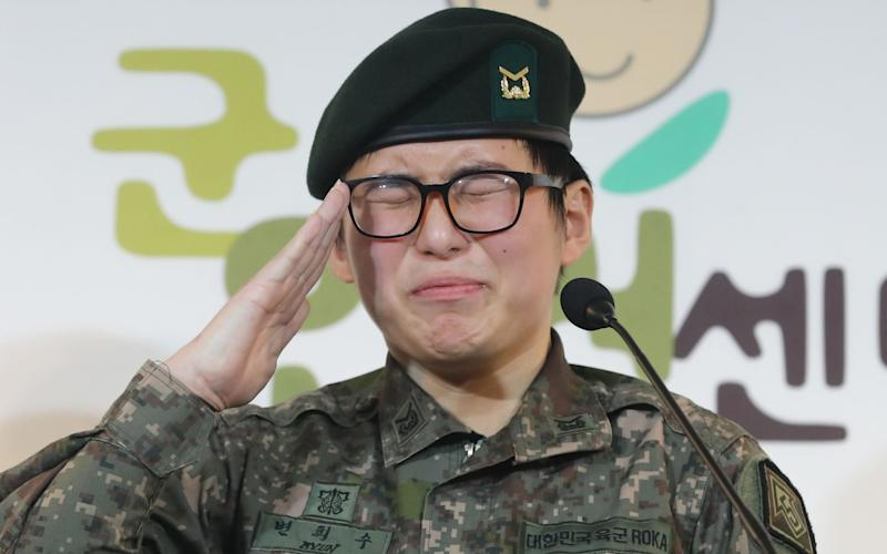 South Korean Army staff sergeant Byun Hee-soo voluntarily enlisted before having gender-reassignment surgery - AFP