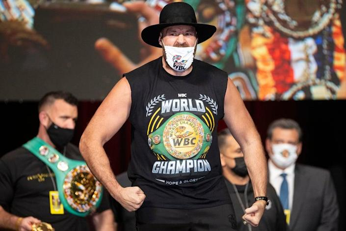 Tyson Fury is making the first defence of his WBC heavyweight title this weekend (Erik Verduzco/AP/PA) (AP)