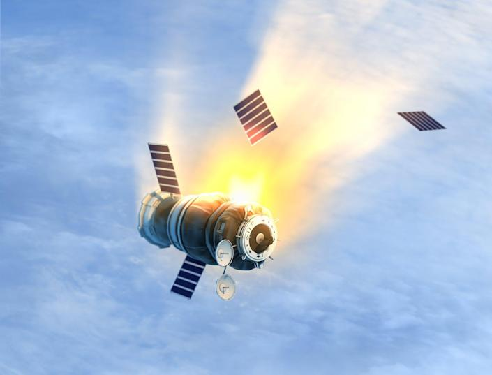 """<span class=""""caption"""">It's unlikely falling space junk will destroy property or kill a person. </span> <span class=""""attribution""""><a class=""""link rapid-noclick-resp"""" href=""""https://www.gettyimages.com/detail/photo/satellite-royalty-free-image/476204650?adppopup=true"""" rel=""""nofollow noopener"""" target=""""_blank"""" data-ylk=""""slk:Petrovich9/iStock via Getty Images"""">Petrovich9/iStock via Getty Images</a></span>"""