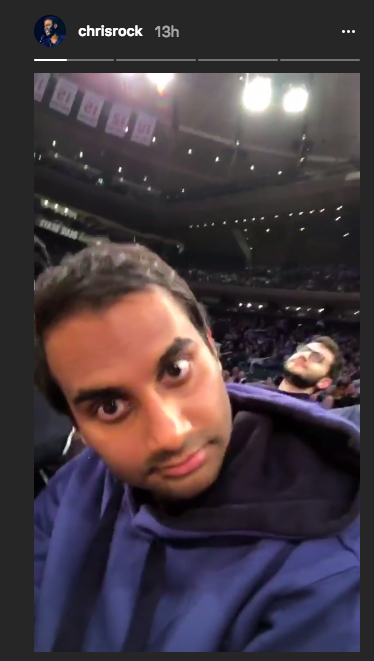 Aziz Ansari popped up in Chris Rock's Instagram Stories on Monday. (Image: Chris Rock via Instagram)