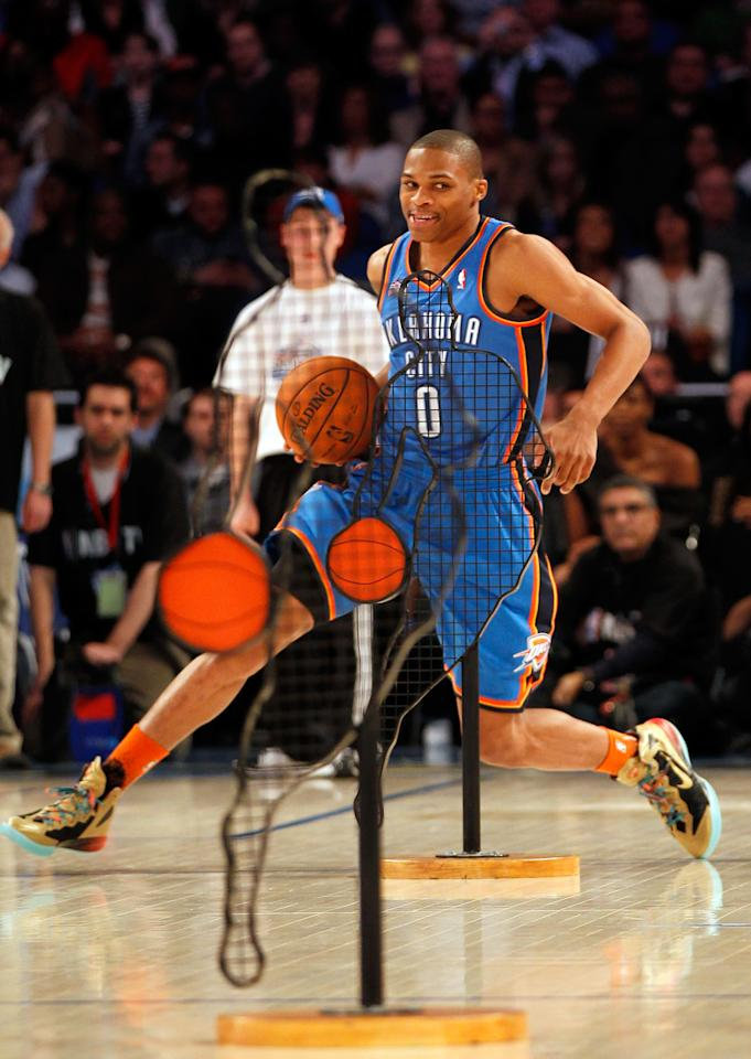 ORLANDO, FL - FEBRUARY 25:  Russell Westbrook of the Oklahoma City Thunder competes in the Taco Bell Skills Challenge part of 2012 NBA All-Star Weekend at Amway Center on February 25, 2012 in Orlando, Florida.  NOTE TO USER: User expressly acknowledges and agrees that, by downloading and or using this photograph, User is consenting to the terms and conditions of the Getty Images License Agreement.  (Photo by Mike Ehrmann/Getty Images)