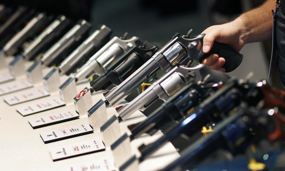 "<span class=""element-image__caption"">Handguns displayed at the Smith & Wesson booth at the Shooting, Hunting and Outdoor Trade Show in Las Vegas on January 2016.</span> <span class=""element-image__credit"">Photograph: John Locher/AP</span>"