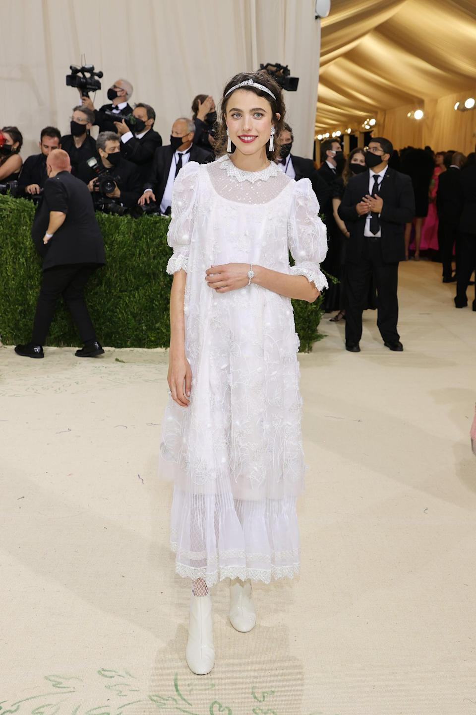 <p>Wearing head-to-toe Chanel. </p>