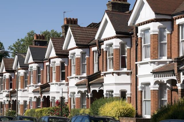 english homes.row of typical...
