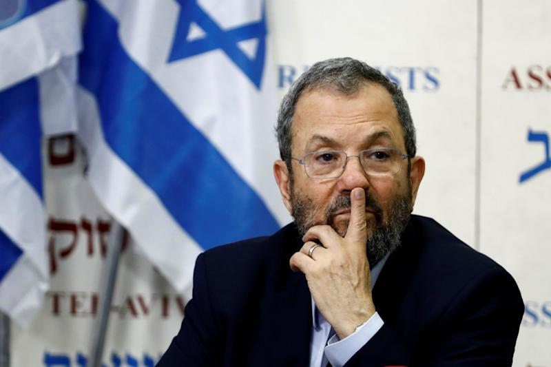 Former Israeli Prime Minister Ehud Barak gestures after delivering a statement in Tel Aviv, Israel June 26, 2019. REUTERS/Corinna Kern