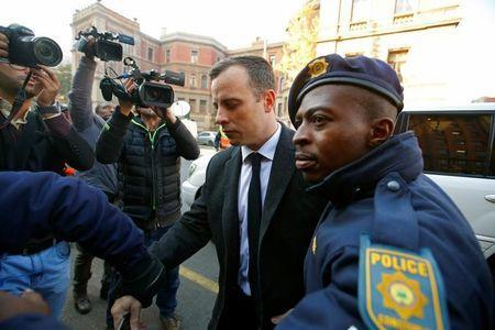 Olympic and Paralympic track star Oscar Pistorius arrives for sentencing at the North Gauteng High Court in Pretoria, South Africa, July 6, 2016. REUTERS/Mike Hutchings