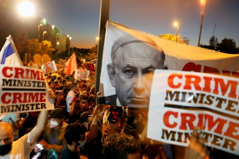 Weekly protests against Netanyahu have rumbled on for months, with demonstrators from the 'Crime Minister' movement focusing on graft allegations the premier faces