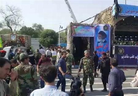 A general view of the attack during the military parade in Ahvaz, Iran September 22, 2018. Tasnim News Agency/via REUTERS