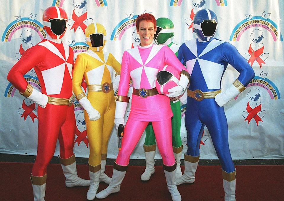 """<p>Jamie Lee Curtis and her fellow Power Rangers at the """"7th Annual Dream Halloween"""" to benefit Children Affected by Aids Foundation. (Laurie Wierzbicki/Berliner Studio/BEI) </p>"""