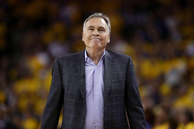 "<a class=""link rapid-noclick-resp"" href=""/nba/teams/houston/"" data-ylk=""slk:Rockets"">Rockets</a> owner Tilman Fertitta's sights are still set on the Western Conference Finals, and hopes to keep coach Mike D'Antoni in Houston for a long time. (Getty Images)"
