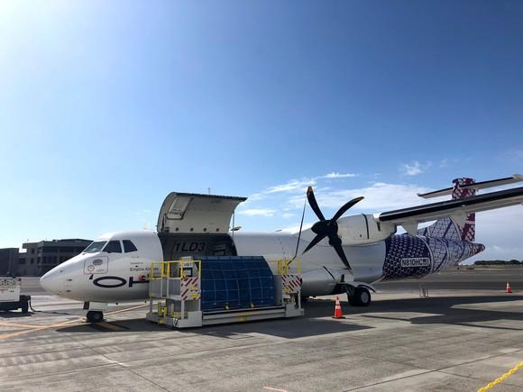 Hawaiian Airlines' first ATR-72 being loaded with cargo