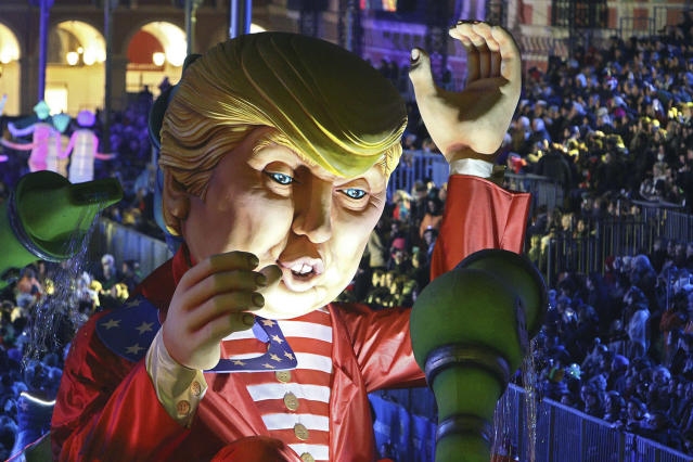 <p>A huge U.S. President Donald Trump float parades during the Nice Carnival, Saturday, Feb. 11, 2017, in Nice, southeastern France. (Photo: Henri Grivot/AP) </p>