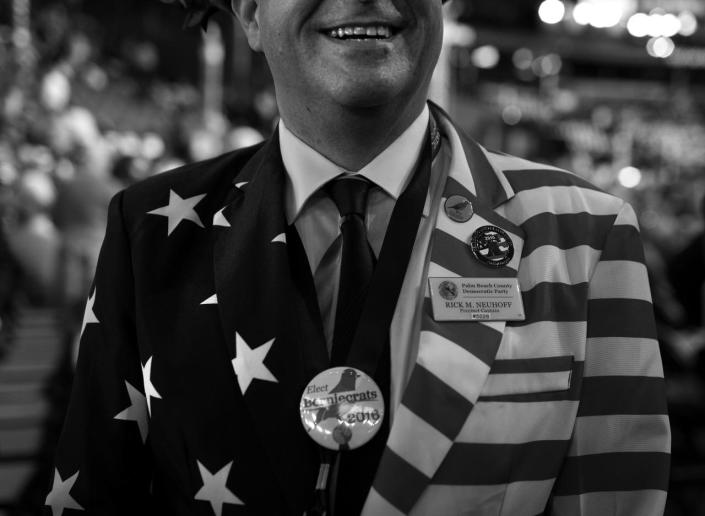 <p>Rick Neuhoff, a pledged delegate for Bernie Sanders, is shown on the convention floor Tuesday, July 26, 2016, in Philadelphia, PA. (Photo: Khue Bui for Yahoo News) </p>